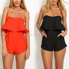 Sexy Womens Strapless Bandeau Playsuit Ladies Jumpsuit Casual Shorts Beach Wear