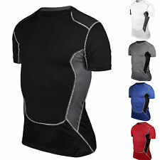 Men's Thermal Compression Base Layer T-Shirts Sports Short Sleeve Tops Gear Wear