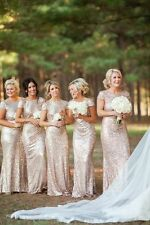 Plus Size Wedding Bridesmaid Evening Dresses Sequin Prom Short Sleeves Long Gown