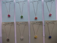 Gold/Sliver Shambella Crystal Love Heart Necklace 8 Colours Available Hand Made
