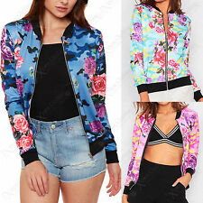 NEW LADIES CAMOUFLAGE FLORAL PRINT BOMBER JACKET ZIP UP WOMENS BIKER LOOK COAT