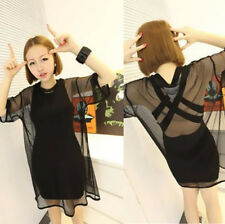 Fashion Tee Shirt Women Mesh Sexy See Blouse New Tops Sheer Through Short Sleeve