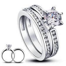 925 STERLING SILVER ROUND CUT CZ WEDDING ENGAGEMENT RINGS SET SIZE 6-8 SS750