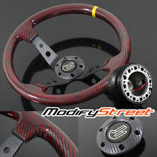 94-95 ACCORD 350mm RED REAL CARBON FIBER DEEP DISH STEERING WHEEL/HUB ADAPTER