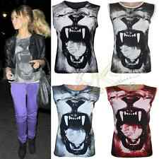 NEW WOMENS ANIMAL TIGER FACE OPEN MOUTH PRINT Print SLEEVELESS VEST TOP BY K K
