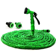 25 50 75 100 FT Expandable Flexible Garden Water Hose Pipe Spray Nozzle GunGreen