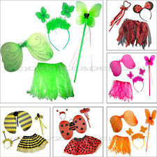 GIRLS FAIRY COSTUME WINGS AND WAND FAIRY OUTFIT BUMBLE BEE LADYBIRD FANCY DRESS