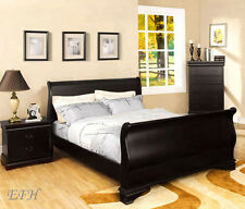 NEW LAURELLE II CONTEMPORARY DEEP BLACK FINISH WOOD FULL QUEEN KING SLEIGH BED