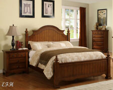 NEW CASUAL PALM COAST COTTAGE STYLE CHERRY OAK FINISH WOOD QUEEN KING PANEL BED