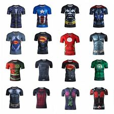 Mens 3D Comics Superhero Compression Tee T-shirts Short Sleeve Cycling Jersey
