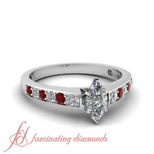 .75 Ct Marquise Cut E-Color Diamond & Ruby 14K Gold Engagement Pave Set Ring GIA