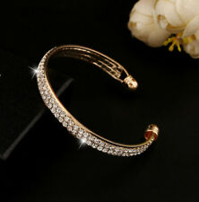 Fashion Style Gold Crystal Bangle Cuff Jewelry Rhinestone Bracelet Hot Women