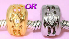 SOLID Sterling Silver CZ Charm BEAD with Vemeil gold or Rhodium Finish You Pick