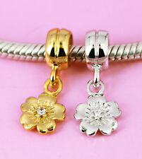 SOLID 925 Sterling Silver / Vermeil Gold CZ Flower Dangle Charm Bead / Pendant