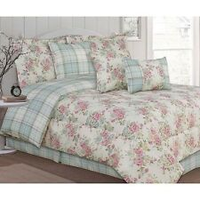 NEW Twin Full Queen King Bed Pink Blue Green Floral Plaid 7 pc Comforter Set NWT