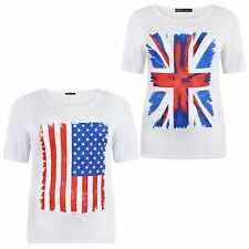 New Womens Plus Size White American,Union Jack Flag Print Tee Tops 8-22