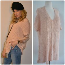 New! FREE PEOPLE Rose Pink Knit SWEATER Trapeze Cut Over-sized One-Size Fits All