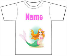 PERSONALISED MERMAID T-SHIRT PRINTED WITH ANY CHILDS NAME GIRLS/BOYS