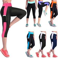 Sexy Sport Pants Women Skinny Cropped Trousers Striped Leggings Train Yoga X6R1