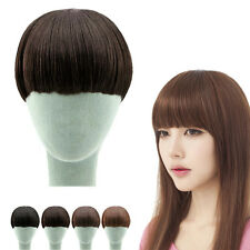 Womens Neat Bang Fringe Clip-In/On Short Wig Girls Hair Extensions