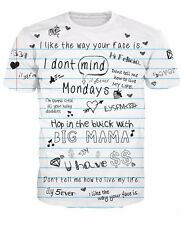 2016 New Fashion Women/Mens Catch Phrases 3D Print Casual T-Shirt Plus Size
