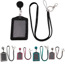 Sling Bling Horizontal Resin Rhinestone Crystal Work Card ID Case Holder Lanyard