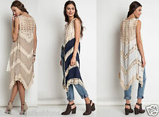 Sleeveless Crochet Lace Boho Bohemian Western Long Top Vest Cardigan Duster