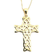 14k Yellow Gold Medium Sized Woven Celtic Cross Pendant Necklace
