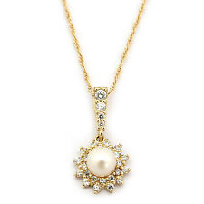14k Yellow/White Gold White Freshwater Cultured Pearl CZ Halo Necklace