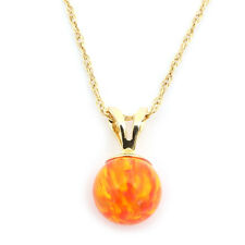 14k Yellow/White Gold 8mm Orange Fire Simulated Opal Pendant Necklace