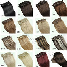 """Hair Extensions Full Head Clip in 100% Remy Human Hair 22"""" 7pcs 15Colors"""