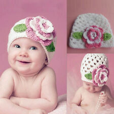 Flower Baby Cap Kids Infant Toddler Girl Knit Unique Lovely Crochet Beanie Hat