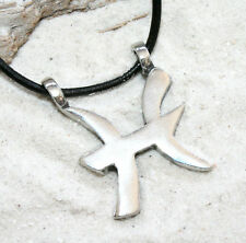 PISCES ZODIAC MARCH FEB Pewter Pendant Leather Necklace