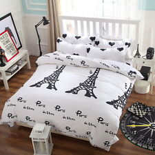 Paris Tower Bedding Set Duvet Cover Quilt Cover Single Queen King Size White