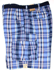 Foundry Belted Cargo Shorts Blue Plaid Big & Tall size 46, NWT