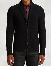 John Varvatos Star USA Luxe Men's Shawl Collar Cardigan Black Wool $298 msrp NWT