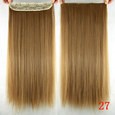 5Clips One Hairpiece Honey Blonde 150g Clip In 100%Real Human Hair Extensions