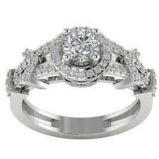 Antique Halo Set Solitaire Engagement Ring G/SI1 1.15Ct Real Diamond White Gold