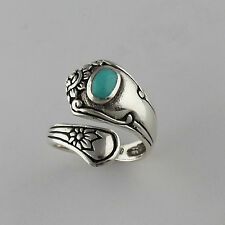 Flower Spoon Ring - 925 Sterling Silver - Turquoise Adjustable Sizes 6-9 NEW