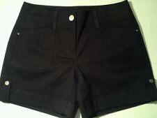 NWT WHITE HOUSE BLACK MARKET CUFFED TWILL BLACK SHORTS 0 OR 2
