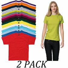 2-PACK-SG tshirts Tops-Womens Heavyweight TShirt-Crew Neck Short Sleeve tshirt