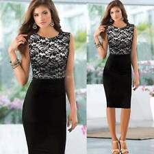 New Contrast Style Lace Splicing Ladies Black Pencil Evening Slimming Dress