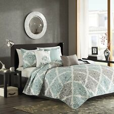 6 Piece Quilted Coverlet Set Aqua Blue with Decorative Pillows & Shams Included