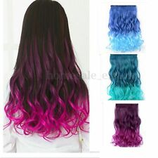 3/4 Full Head Clip In Hair Extensions Straight Curly with 5 Clips Long Colorful
