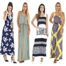 Womens Ladies Printed Plus Size Toga Bubble Racer Twist Back Maxi Dress Balloon