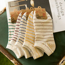 2/5 Pair Casual Cotton blend Stripe Women Low Cut Nonslip Ankle Boat Sock
