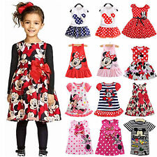 New Kids Baby Girl Mickey Minnie Mouse Princess Dress Vest Skirt Toddler Clothes