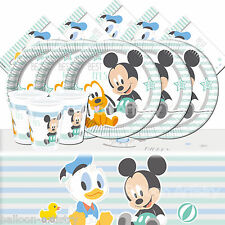Classic Disney Mickey Mouse Infant Child Birthday Complete Party Pack Kit For 16