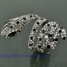 SIZE 6# FULL CZ SNAKE STATEMENT 18K WHITE GOLD PLATED RING SOLID FILL GP GEP f20