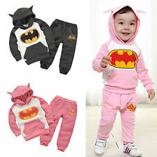 2PCS Kids Boys Girls Batman Hoodie Sweatshirt Tracksuit Tops + Pants Outfits Set